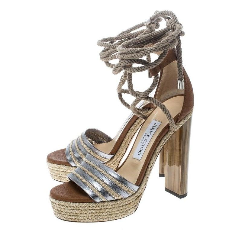 116b68d3e63 Jimmy Choo Two Tone Leather Mayje Espadrille Trim Ankle Tie Platform  Sandals Siz For Sale 1