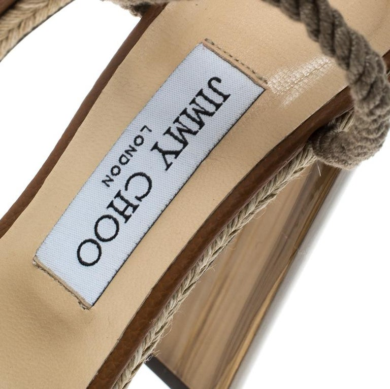 271ced24e11 Jimmy Choo Two Tone Leather Mayje Espadrille Trim Ankle Tie Platform  Sandals Siz For Sale 2