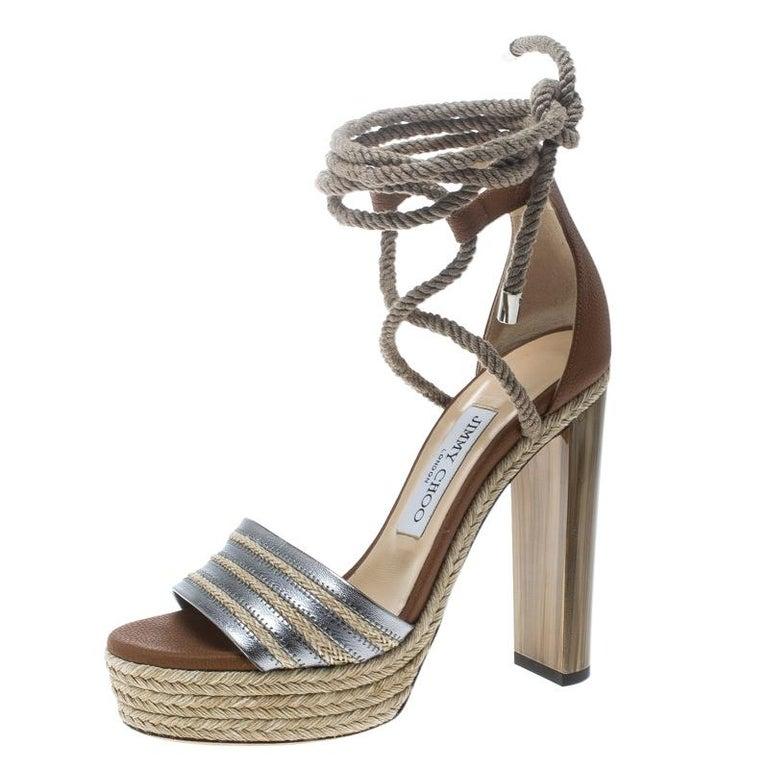 9f467b135a7 Jimmy Choo Two Tone Leather Mayje Espadrille Trim Ankle Tie Platform  Sandals Siz For Sale