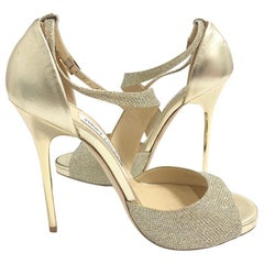 JIMMY CHOO 'Tyne 120' Pumps in Gold Lamé and Metallic Nappa Leather Size 37.5FR