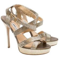 Jimmy Choo 'Vamp' Glitter Platform Sandals 38