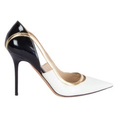 JIMMY CHOO white black gold patent leather VIPER Pumps Shoes 36