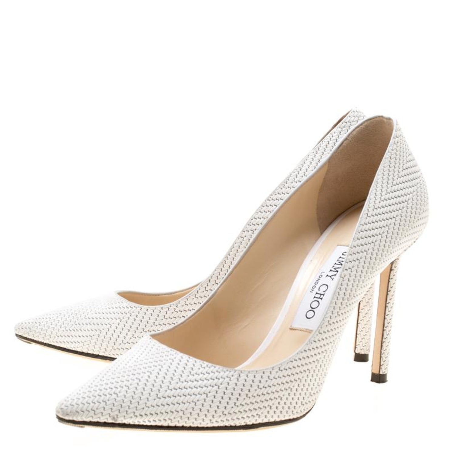 8f28fad550b Jimmy Choo White Knitted Nubuck Leather Romy Pointed Toe Pumps Size 37 For  Sale at 1stdibs