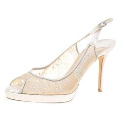 Jimmy Choo White Lace And Satin Nova Peep Toe Slingback Sandals Size 41