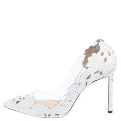 Jimmy Choo White Lace Fabric And PVC Romy 100 Pointed Toe Pumps Size 40