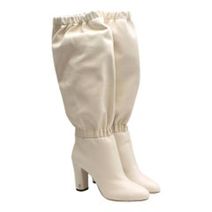 Jimmy Choo White Latte Maxyn 85 Knee-High boots 39.5
