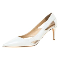 Jimmy Choo White Leather Vienna 65 White Studded Pumps Size 41