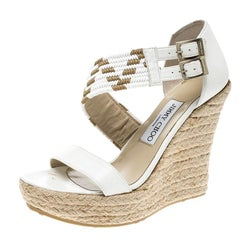 Jimmy Choo White Leather Woven Cross Strap Espadrille Wedge Sandals Size 38