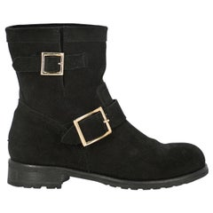 Jimmy Choo Woman Ankle boots Black Leather IT 35.5