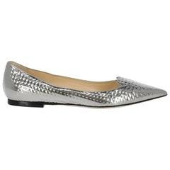 Jimmy Choo Woman Ballet flats Silver Leather IT 36