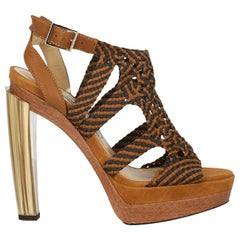 Jimmy Choo Woman Sandals Brown Leather IT 37.5