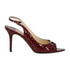 Jimmy Choo Woman Sandals Burgundy Leather IT 40