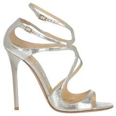 Jimmy Choo Woman Sandals Silver Leather IT 40