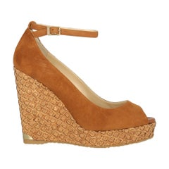 Jimmy Choo Woman Wedges Camel Color Leather IT 41
