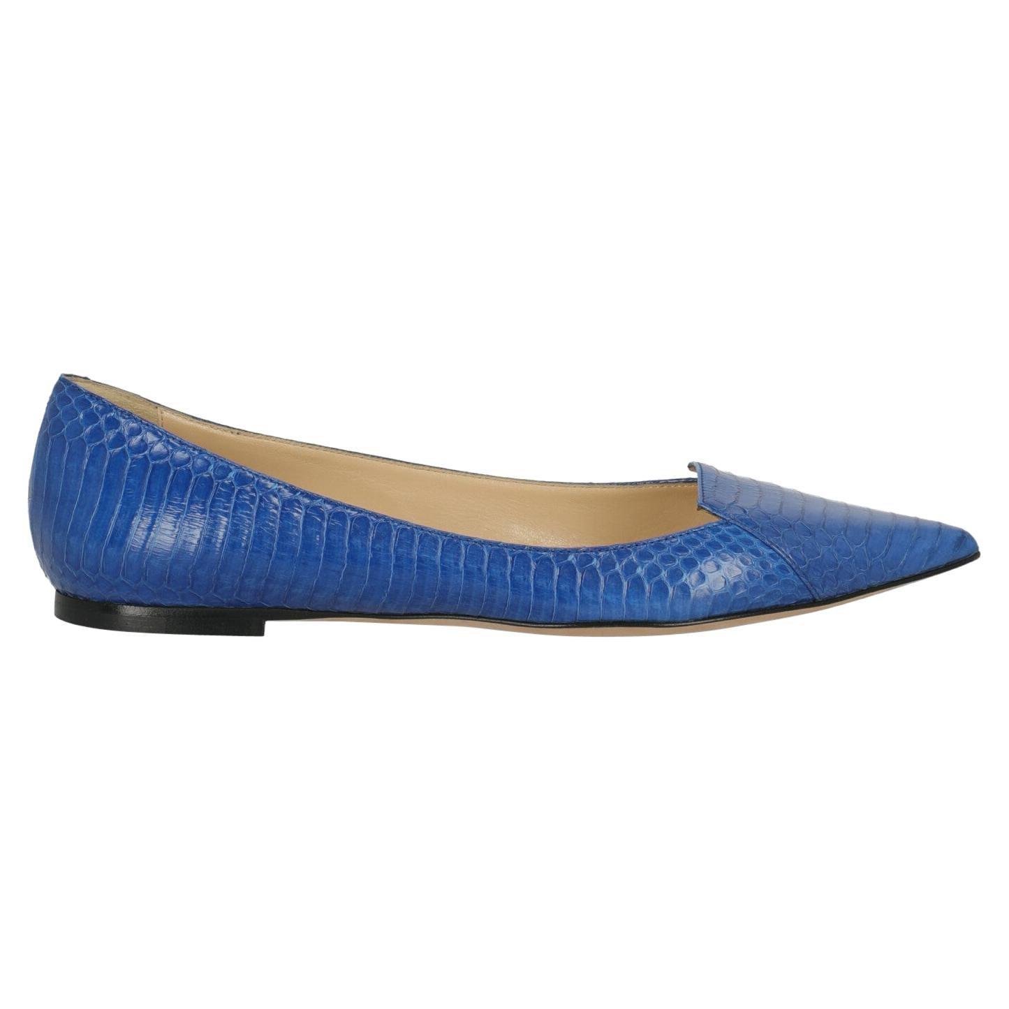 Jimmy Choo Women  Ballet flats Blue Leather IT 39