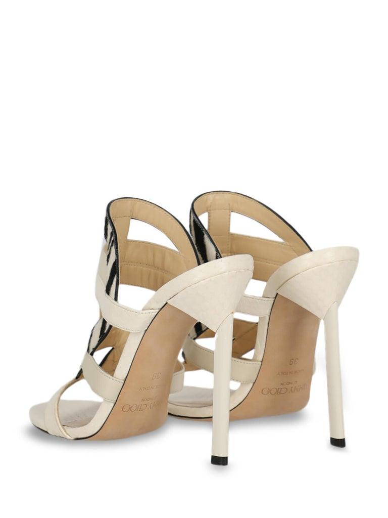 Beige Jimmy Choo Women Sandals Black, Ecru Leather EU 39 For Sale