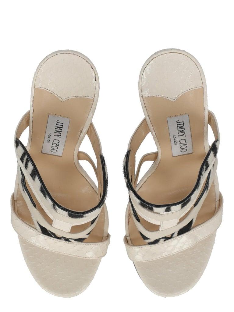Women's Jimmy Choo Women Sandals Black, Ecru Leather EU 39 For Sale