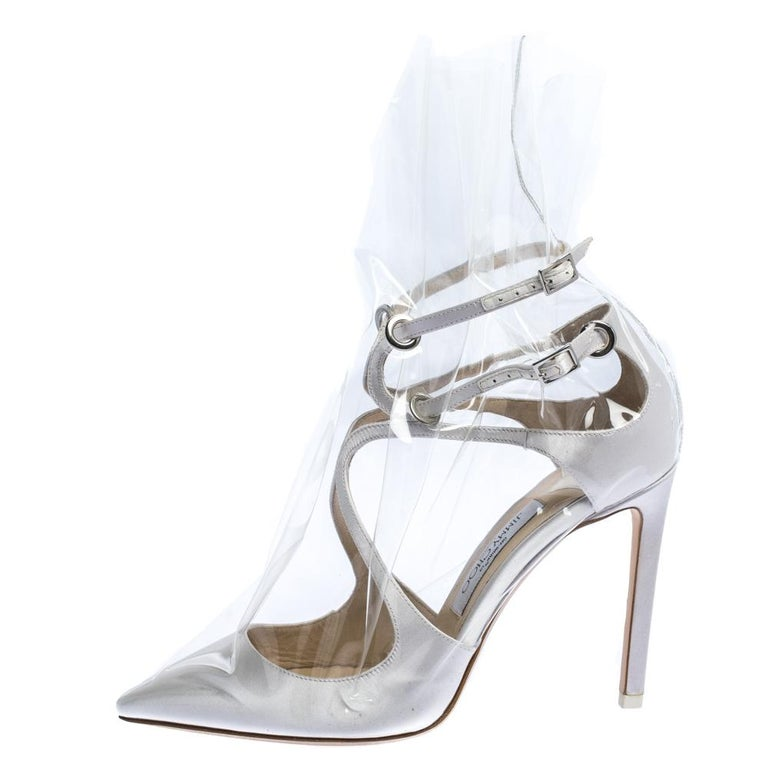 Jimmy Choo X OFF-WHITE Pearl White/Clear Satin and TPU Claire Pumps Size 38 For Sale 1