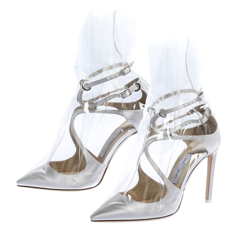 Jimmy Choo X OFF-WHITE Pearl White/Clear Satin and TPU Claire Pumps Size 38 For Sale 2