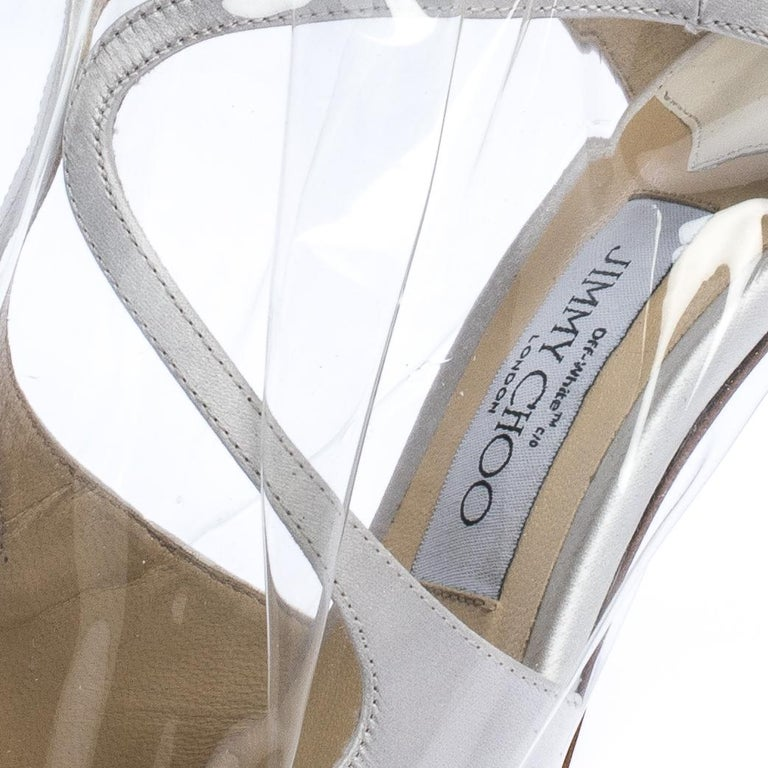 Jimmy Choo X OFF-WHITE Pearl White/Clear Satin and TPU Claire Pumps Size 38 For Sale 3