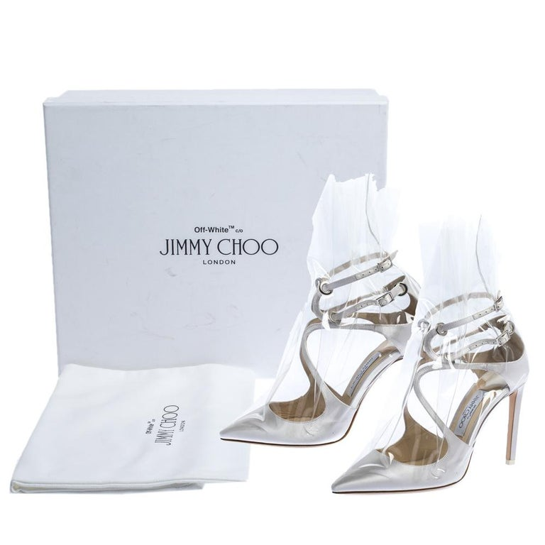 Jimmy Choo X OFF-WHITE Pearl White/Clear Satin and TPU Claire Pumps Size 38 For Sale 4