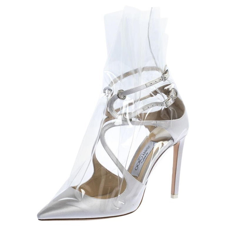 Jimmy Choo X OFF-WHITE Pearl White/Clear Satin and TPU Claire Pumps Size 38 For Sale