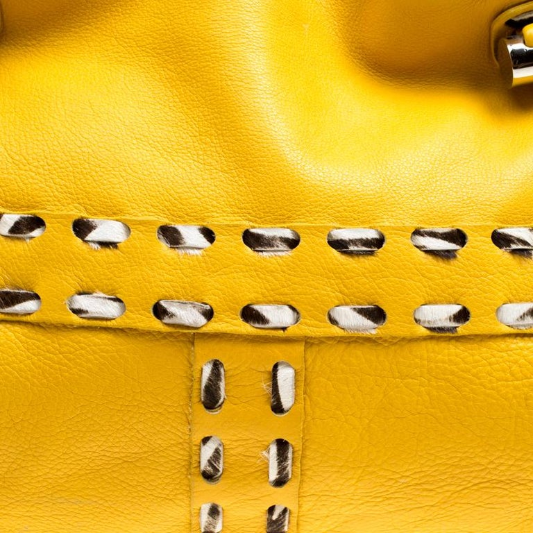 Jimmy Choo Yellow Leather and Calfhair Trim Tote For Sale 6