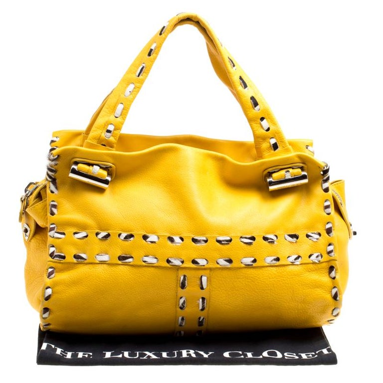 Jimmy Choo Yellow Leather and Calfhair Trim Tote For Sale 7