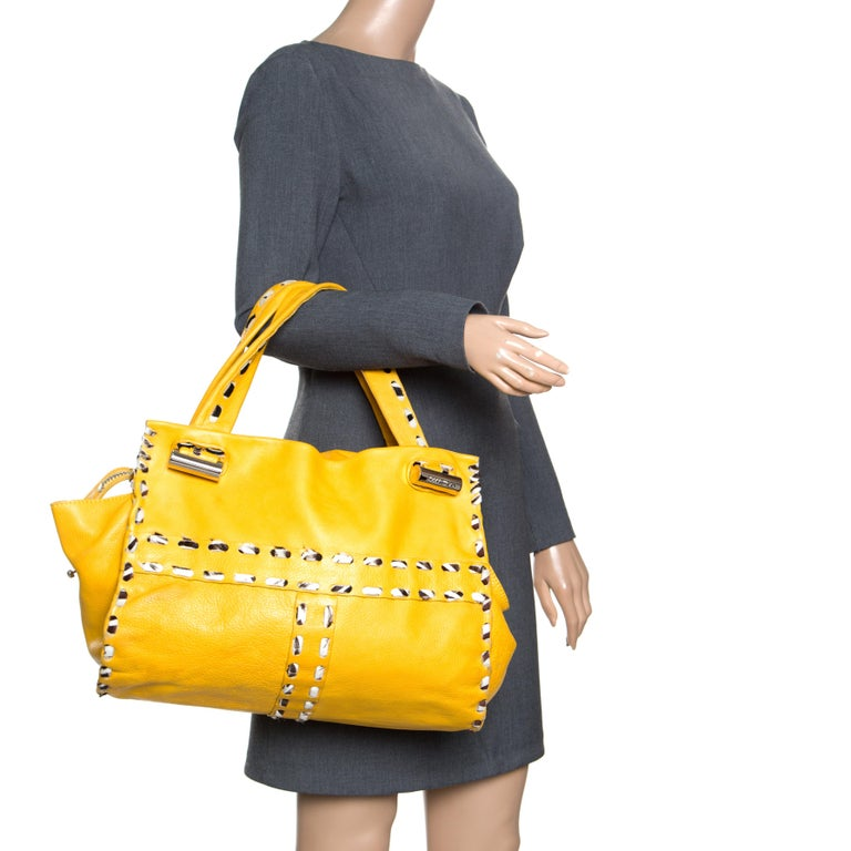 Jimmy Choo Yellow Leather and Calfhair Trim Tote In Good Condition For Sale In Dubai, AE