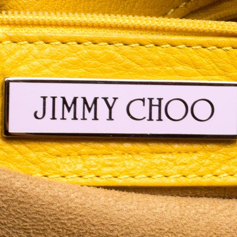 Women's or Men's Jimmy Choo Yellow Leather and Calfhair Trim Tote For Sale