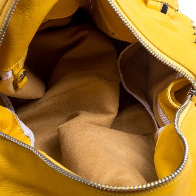 Jimmy Choo Yellow Leather and Calfhair Trim Tote For Sale 1