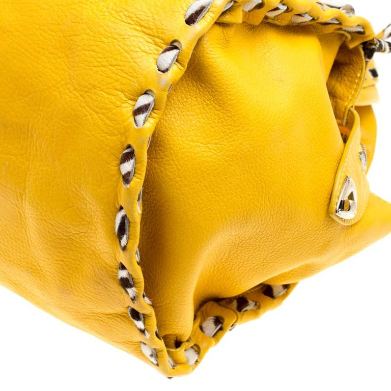 Jimmy Choo Yellow Leather and Calfhair Trim Tote For Sale 2