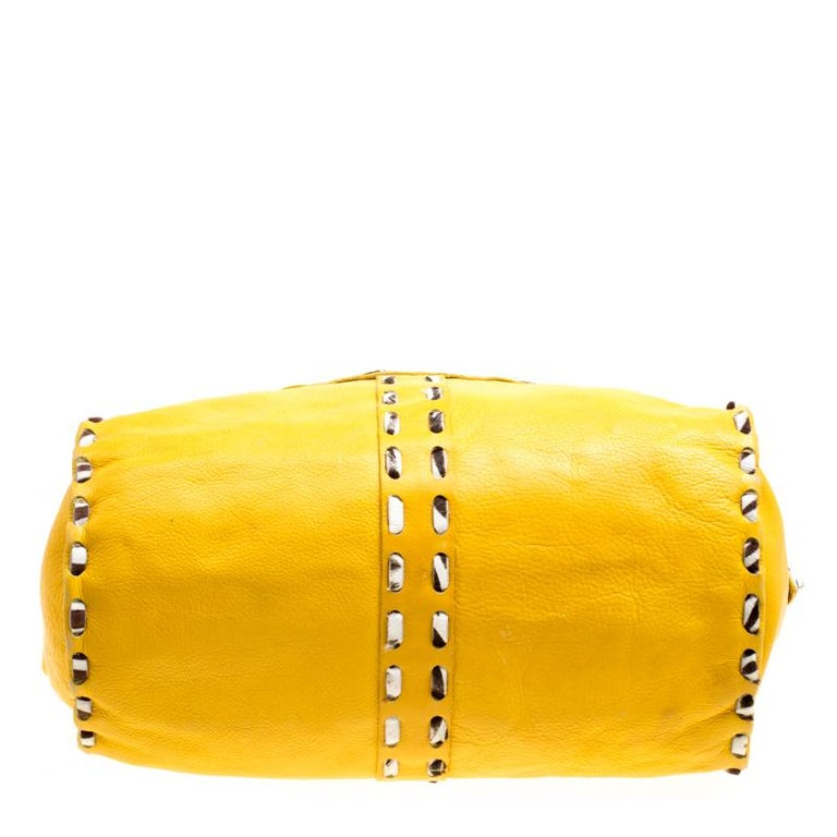 Jimmy Choo Yellow Leather and Calfhair Trim Tote For Sale 4