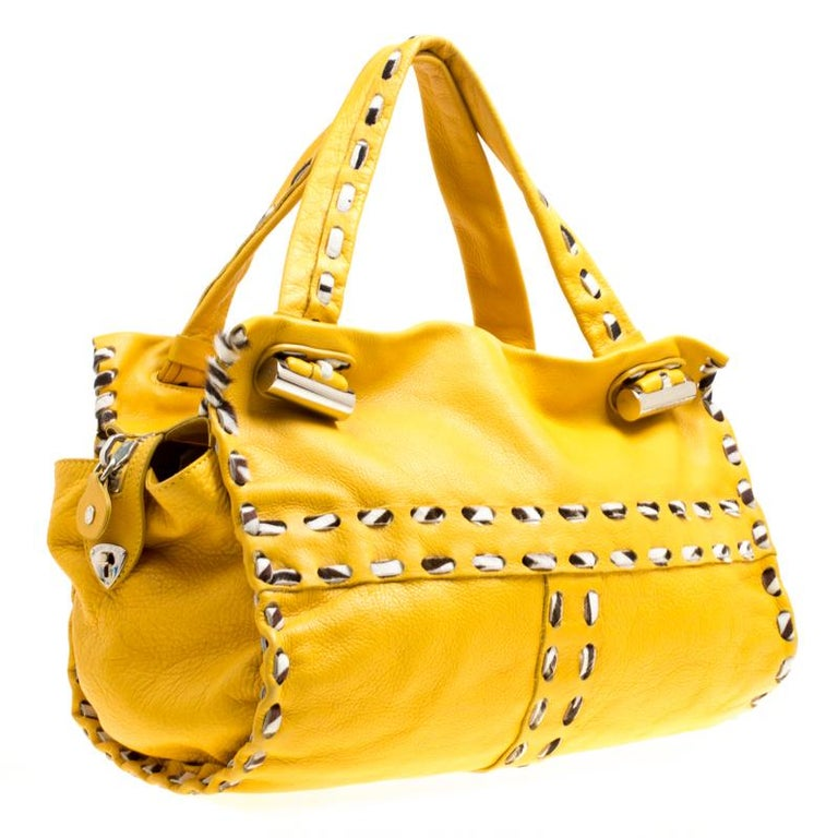 Jimmy Choo Yellow Leather and Calfhair Trim Tote For Sale 5