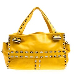 Jimmy Choo Yellow Leather and Calfhair Trim Tote