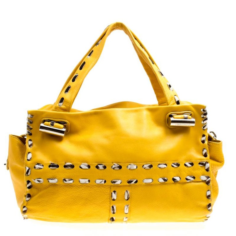 Jimmy Choo Yellow Leather and Calfhair Trim Tote For Sale