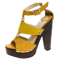 Jimmy Choo Yellow Suede And Leather Cut Out Platform Ankle Strap Sandals Size 37