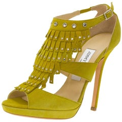 Jimmy Choo Yellow Suede Studded Fringe Platform Sandals Size 36.5