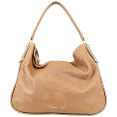 Jimmy Choo Zoe Medium Shoulder Bag with Snakeskin Piping and Gold Hardware