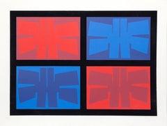 Geometric Abstract Silkscreen by Jimmy Ernst