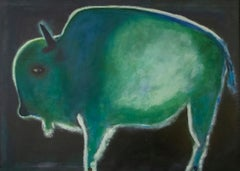 Original acrylic painting by Jimmy Wright  UNTITLED - GREEN BISON