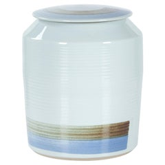 Jin Pot with Lid Large Handcrafted Porcelain Hand Painted White Blue