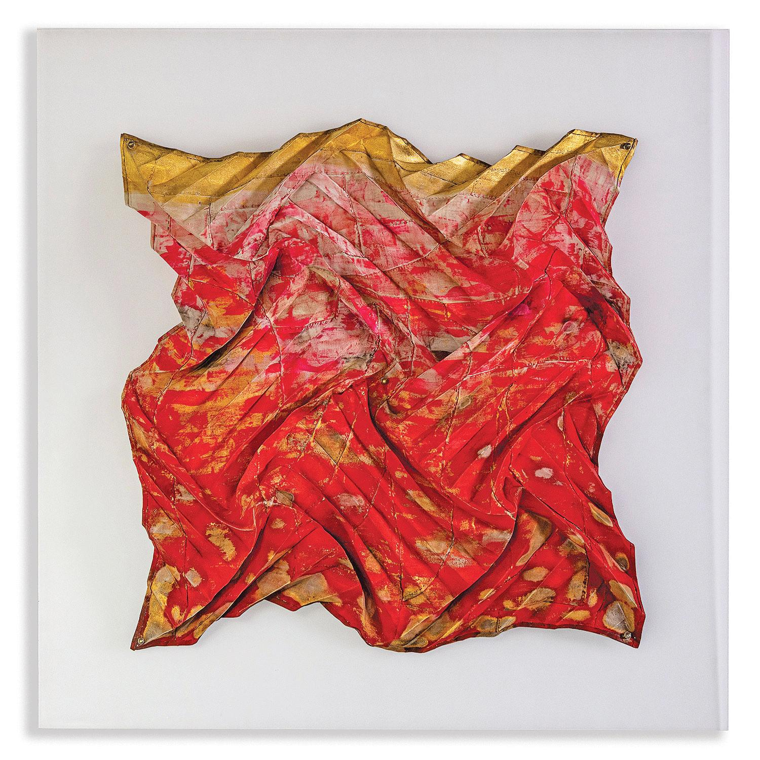 Red Untitled 2021,  Abstract Geometric Wall Sculpture by Jin-Sook So