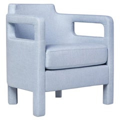 Jinbao Street Lounge Chair by Yabu Pushelberg in Ice Blue Linen