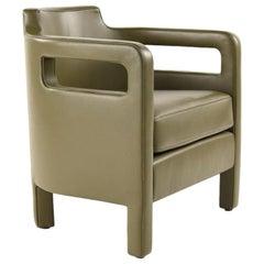 Jinbao Street Lounge Chair by Yabu Pushelberg in Olive Leather