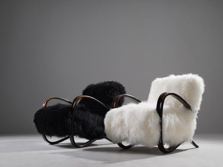 Mid-Century Modern Jindřich Halabala Customizable Lounge Chairs in Tibetan Wool For Sale