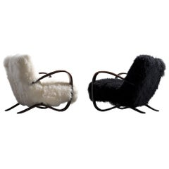 Jindřich Halabala Customizable Lounge Chairs in Tibetan Wool