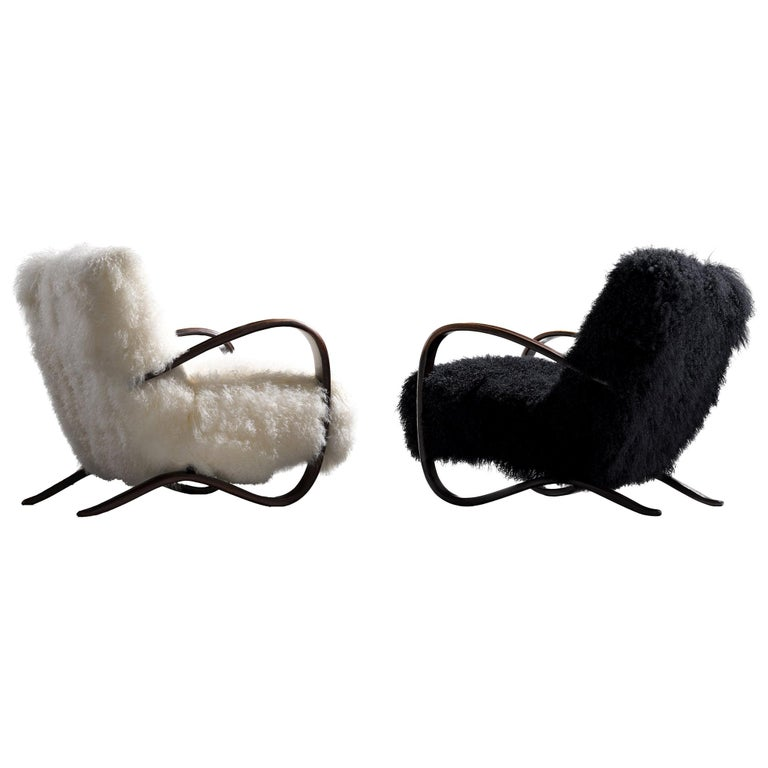 Jindřich Halabala Customizable Lounge Chairs in Tibetan Wool For Sale