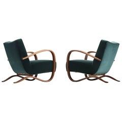 Jindřich Halabala Customizable Lounge Chair in Green Velvet Upholstery