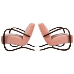 Jindřich Halabala Customizable Lounge Chairs in Pink Velvet